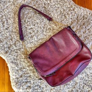 Expandable Leather Shoulder Bag Purse Many Pockets